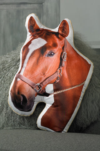 Adorable Chestnut Horse Shaped Cushion
