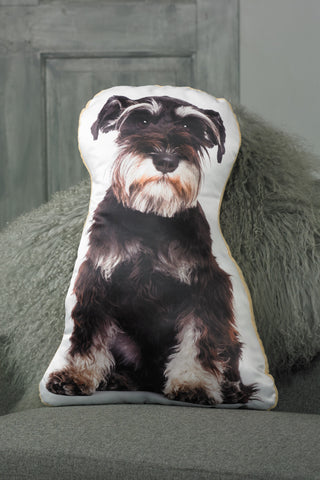 Adorable Black & Silver Schnauzer Shaped Cushion