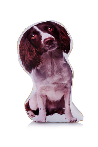 Adorable Liver & White Springer Spaniel Shaped Midi Cushion Dog Midi - Adorable Cushions