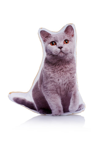 Adorable British Blue Cat Shaped Midi Cushion Cat Midi - Adorable Cushions