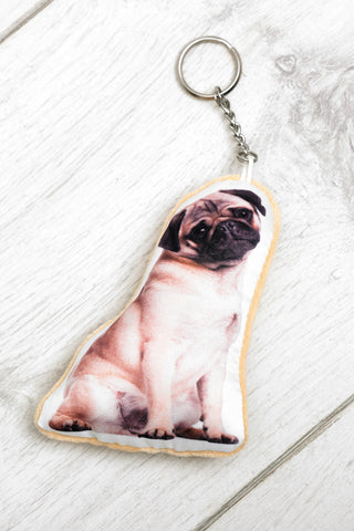 Adorable Pug Shaped Keyring Dog Keyrings - Adorable Cushions