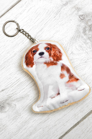 Adorable Bleneim Cavalier King Charles Shaped Keyring