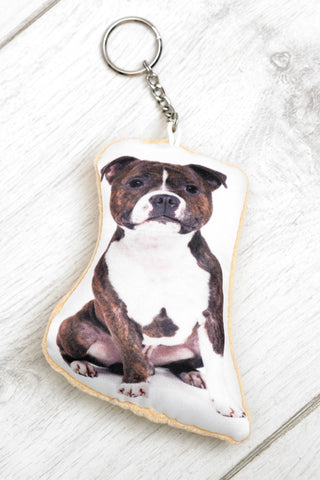 Adorable Staffordshire Bull Terrier Shaped Keyring