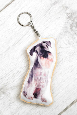 Adorable Schnauzer Shaped Keyring Dog Keyrings - Adorable Cushions