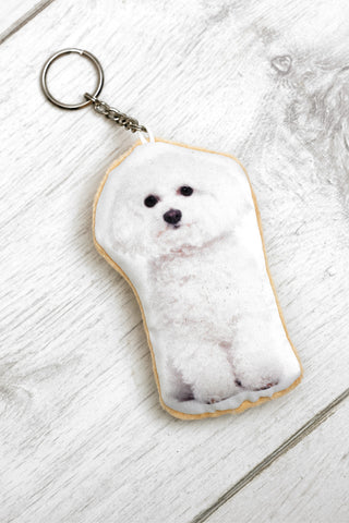Adorable Bichon Frise Shaped Keyring Dog Keyrings - Adorable Cushions