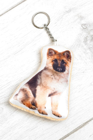 German Shepherd Shaped Keyring Dog Keyrings - Adorable Cushions