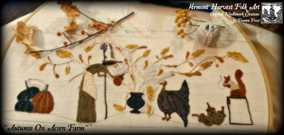 Autumn On Acorn Farm Primitive Punch Needle Embroidery Pattern