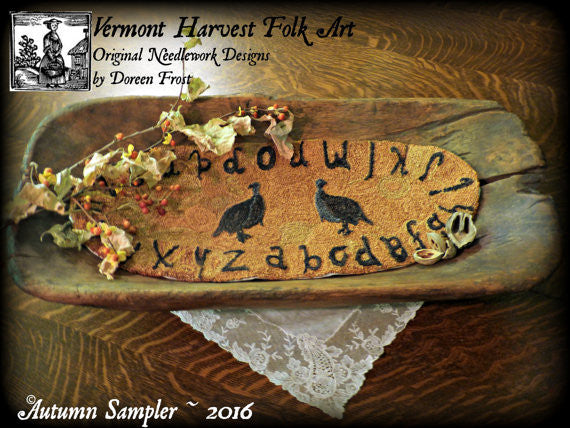 Autumn Sampler Primitive Punch Needle Embroidery Pattern