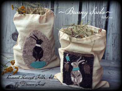 Spring Bunny Sacks ~  Primitive Double Punch Needle Embroidery Pattern