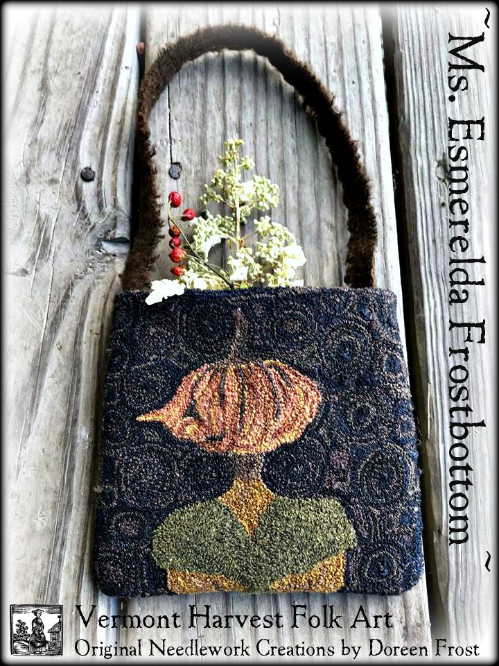 Esmerelda Frostbottom~ Rug Hooking Pattern On Primitive Linen