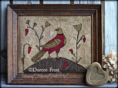 Love Grows Fraktur Bird ~  Primitive Punch Needle Embroidery Pattern