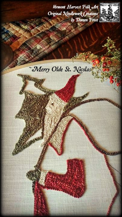Merry Olde St Nicholas Primitive Punch Needle Embroidery Pattern