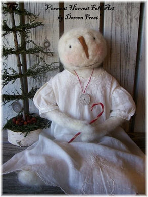 Miss Winter Primitive, Needle Felted Snow Folk Sewing Pattern