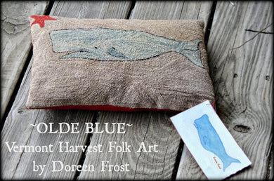 Olde Blue Primitive Whale ~ Rug Hooking Pattern & Template