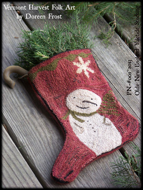 Olde New England Yuletide Christmas Stocking Punch Needle Embroidery Pattern