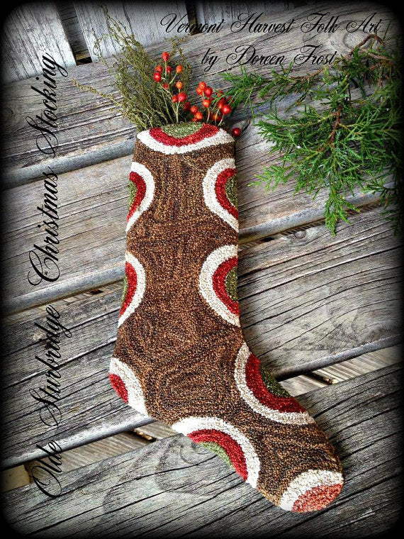 Olde Sturbridge Stocking ~ Punch Needle Embroidery Pattern