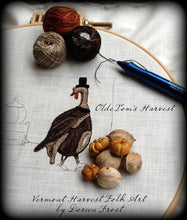 Olde Tom's Harvest~  Primitive Punch Needle Embroidery Pattern