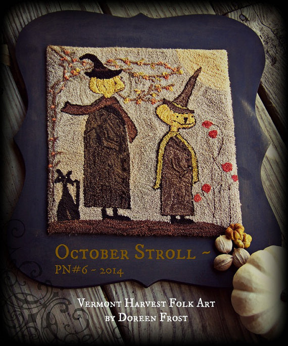 October Stroll ~  Primitive Punch Needle Embroidery Pattern