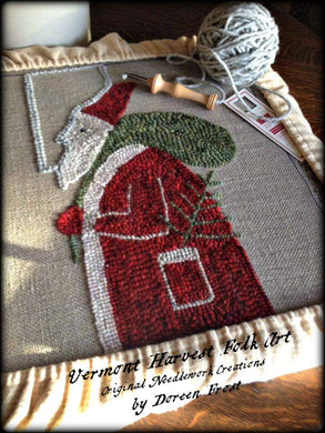 Olde Father Christmas~ Rug Hooking Pattern On Primitive Linen