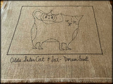 Olde Salem Cat & Jax ~ Double Rug Hooking Pattern On Primitive Linen
