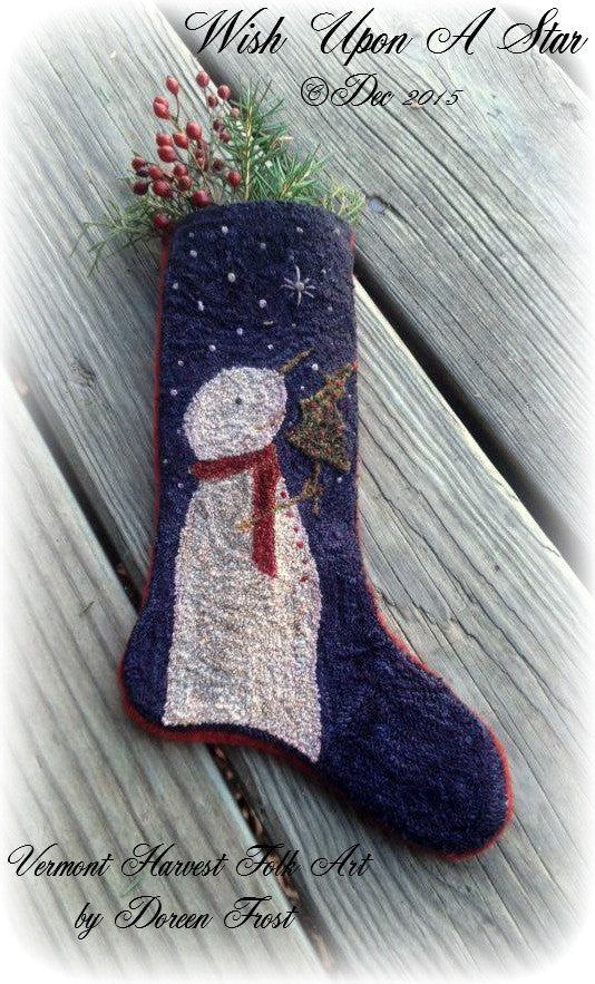 Making Christmas Stocking.Wish Upon A Star Christmas Stocking Primitive Punch Needle Embroidery Pattern