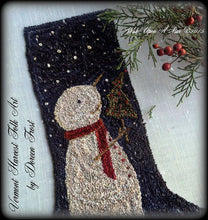 Wish Upon A Star Christmas Stocking ~  Primitive Punch Needle Embroidery Pattern