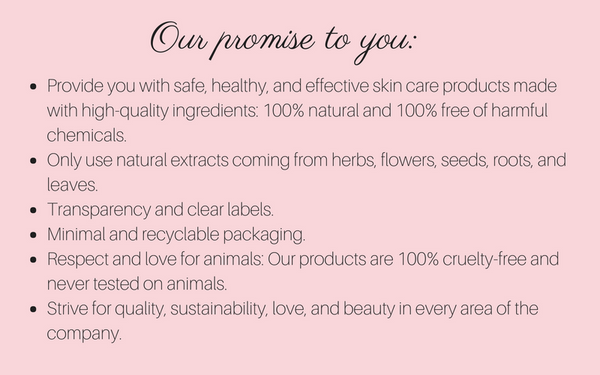 Promise Safe healthy Effective Skin Care 100% Free of Harmful Chemicals Vegetarian Cruelty Free Sustainability Minimal and Recyclable Packaging Transparency and Clear Labels