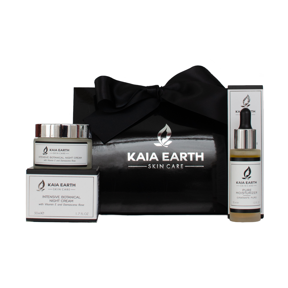Kaia Earth Skin Care | PURE MOISTURIZER SERUM | INTENSIVE BOTANICAL NIGHT CREAM | Beautiful, glowing skin for all skin types. Handmade organic skincare in an emulsion gel. Combination of botanical extracts. | Safe: 100% vegan, free of harmful chemicals, parabens free, glycerin free | Results: Calms and soothes the skin, boosts hydration, enhances the skin's natural glow. | Handcrafted in Italy.