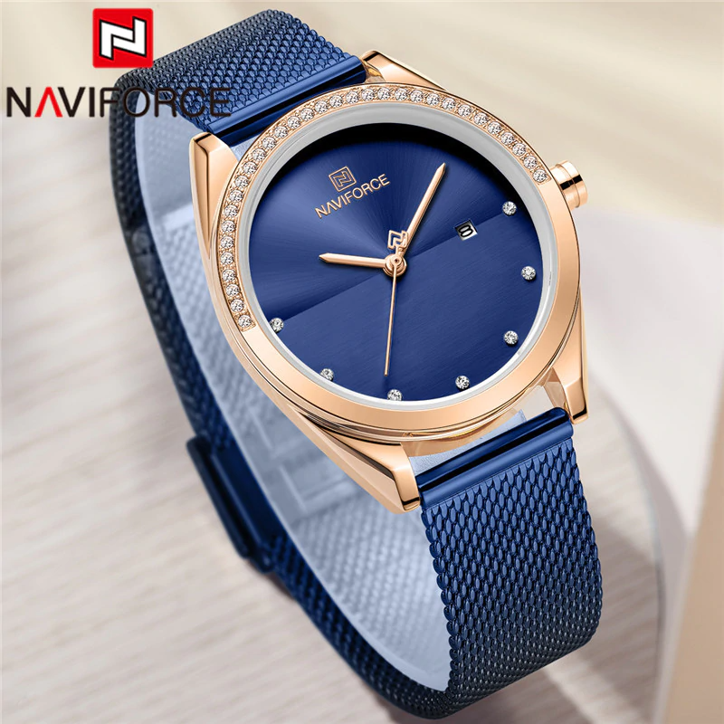 Naviforce SW5015 - Rose Gold Blue - Statement Watches
