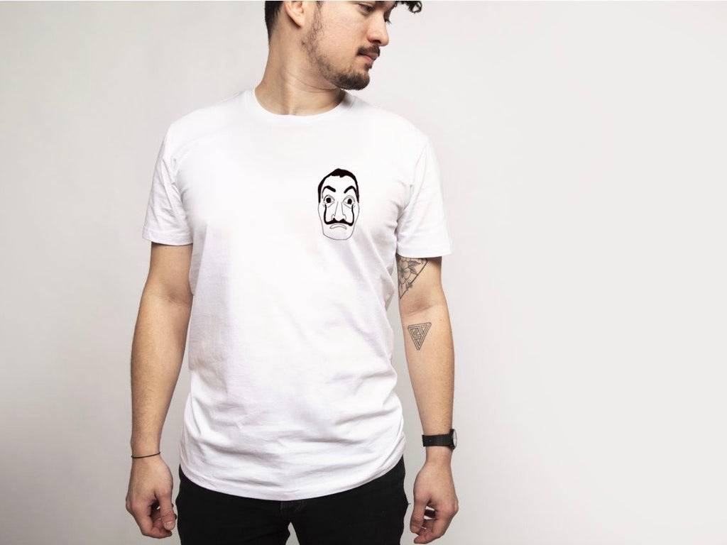 T SHIRT BLANC white t-shirt casa de papel masque dali netflix broderie embroidery main made in  france