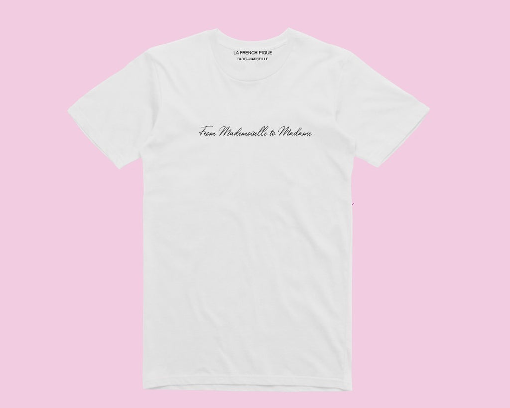 From mademoiselle to Madame t-shirt blanc femme mariage mariee broderie main fabrique en france