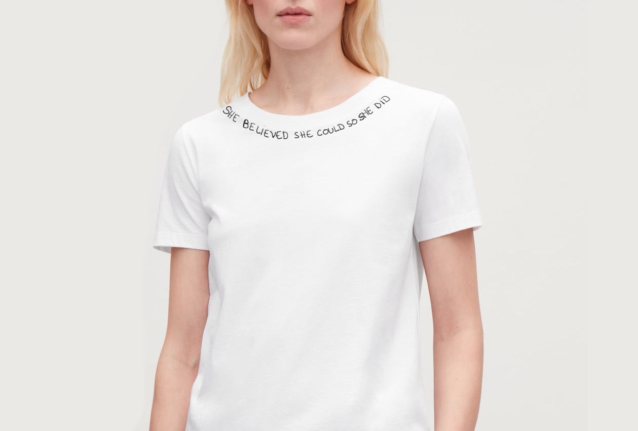 she believed she could so she did t shirt blanc femme broder main fabrique en france