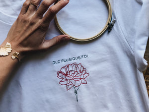 DLC plus que toi t-shirt blanc unisexe broderie main made in france eco fleurs rose bouquet cadeau la french pique