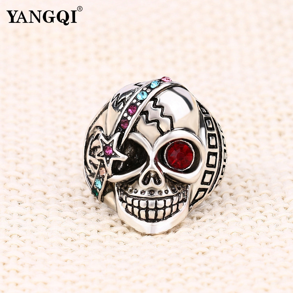 cz ufooro zirconia blown style cubic european and ring punk skeleton american evil motor skull men collections rings ghost hand biker
