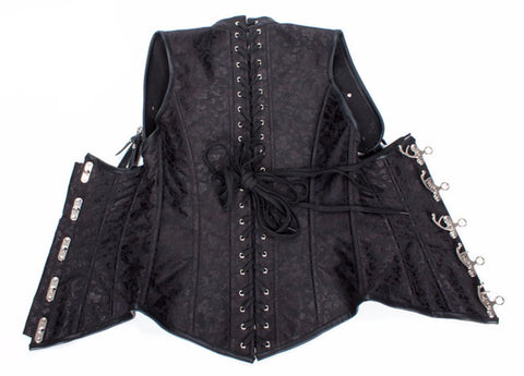 e9b9de16d8 ... Black Brocade Collared Steampunk Corsets - My Gothic Addiction ...