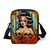 Skull Printed Messenger Crossbody Bags - My Gothic Addiction