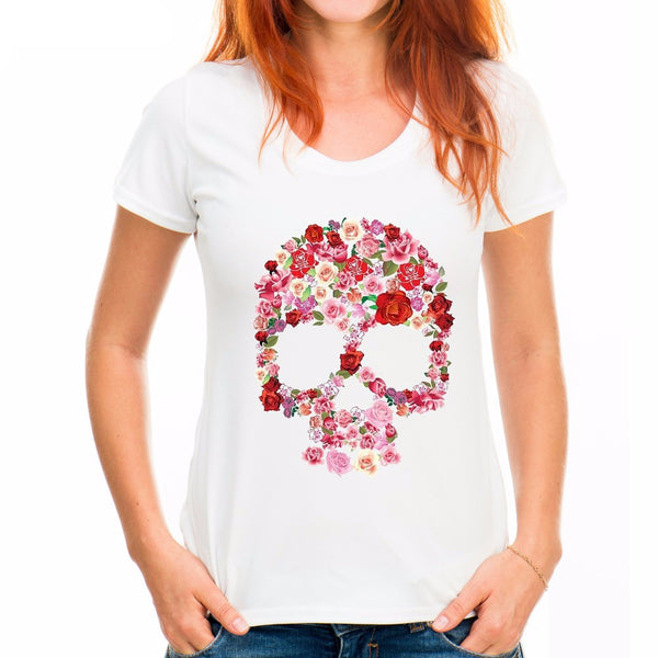 Flower Skull Print T- Shirt - My Gothic Addiction