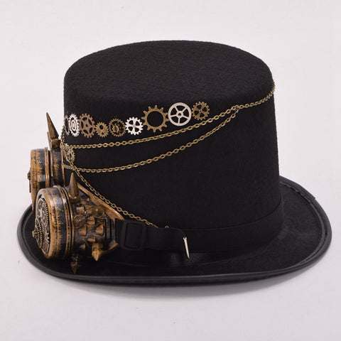 ... Floral Black Steampunk Fedora with Glasses - Free Shipping - My Gothic  Addiction ... 363d0c5b982