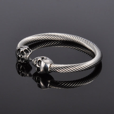 Antique Silver Punk Skull Stainless Steel Bracelet - My Gothic Addiction