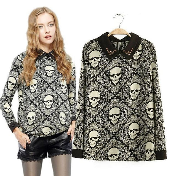 Double-layer Skull Long sleeve Top | Free Shipping