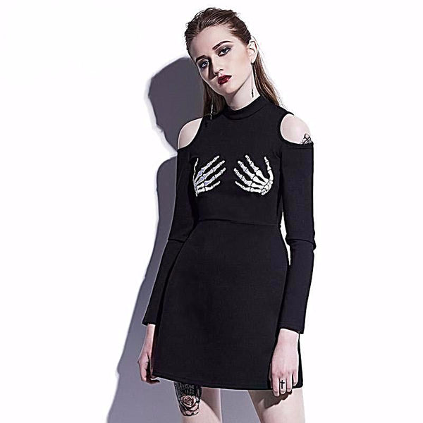 Slim Skull Hollow Pullover Above Knee Dress | Free Shipping - My Gothic Addiction