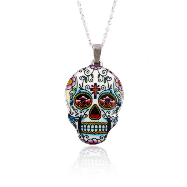 Colorful Skull Pendant Necklace - My Gothic Addiction