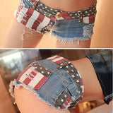 Star Stripe Mini Denim Shorts - Free Shipping - My Gothic Addiction