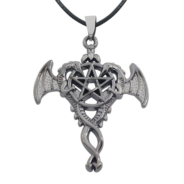 Double Dragon Cross Necklace