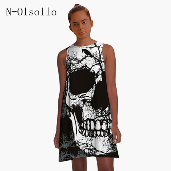 Skull Printed Party Dress
