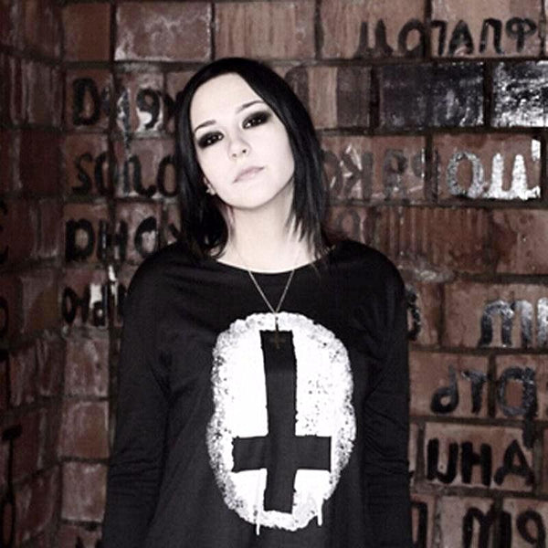 Punk Rock Chiffon Long Cross Print T-Shirt | Free Shipping