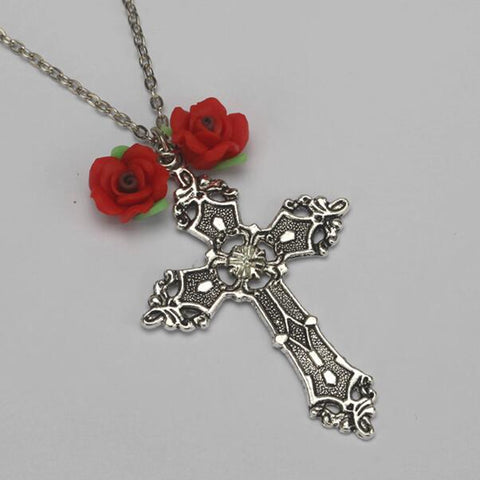 Silver Cross Red Rose Chain Necklace