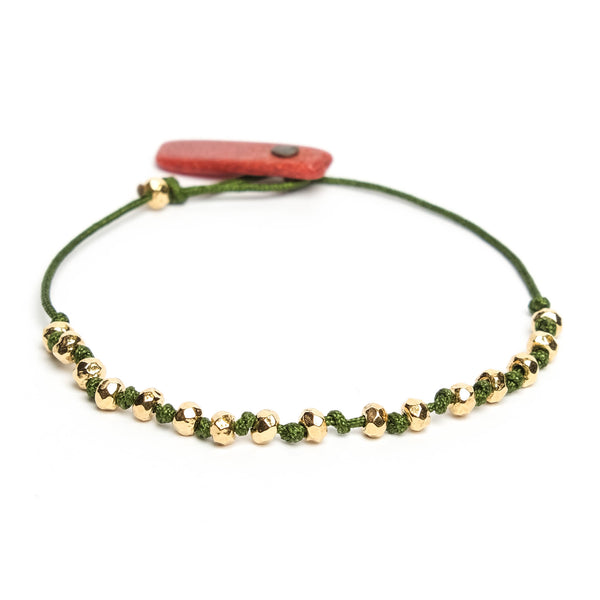 FOREST GREEN Coral with golden polyhedrons bracelet