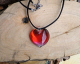 romantic heart jewelry red glass pendant wedding jewelry