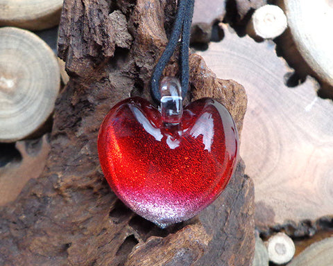 heart pendant fused glass pendant red passion glass necklace